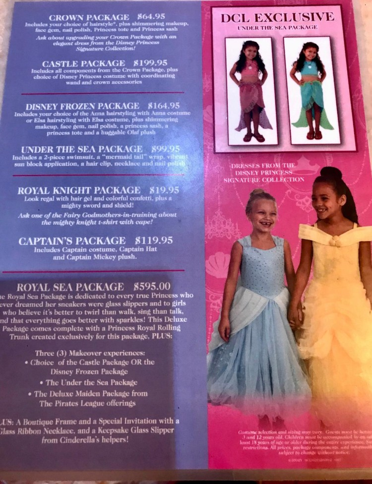 Check out the prices for Bibbidi Bobbidi Boutique on Disney Cruise Line.