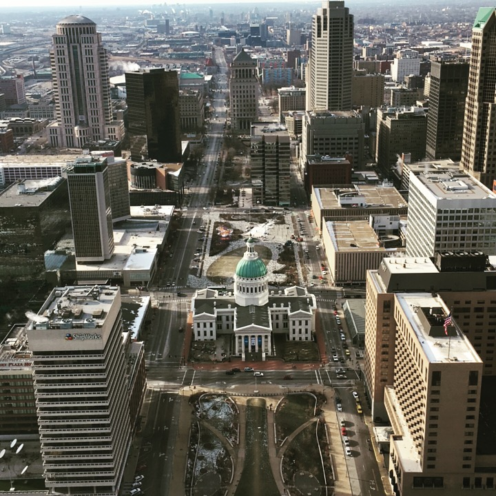 Great views of St. Louis from the top of the arch.