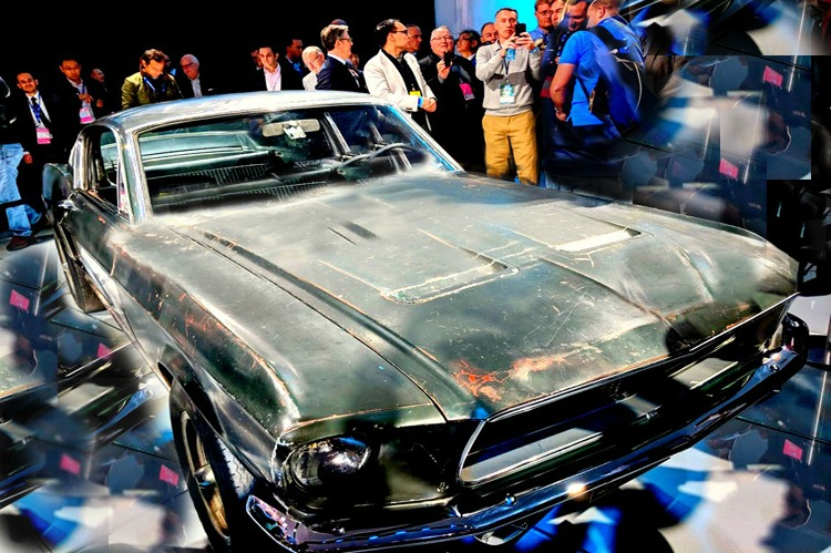 Auto show with kids - the original Bullitt Mustang