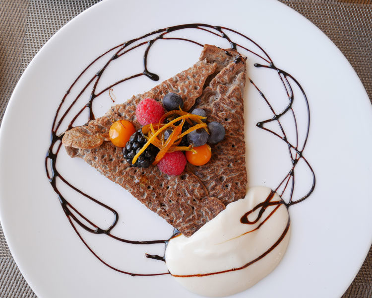 When good-for-you food looks pretty too! A gluten-free and very delicious buckwheat crepe at Spa Eastman, Eastern Townships, Quebec