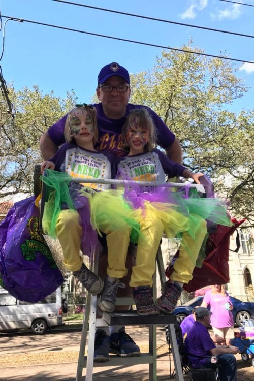 Mardi Gras ladders are a must for family friendly Mardi Gras