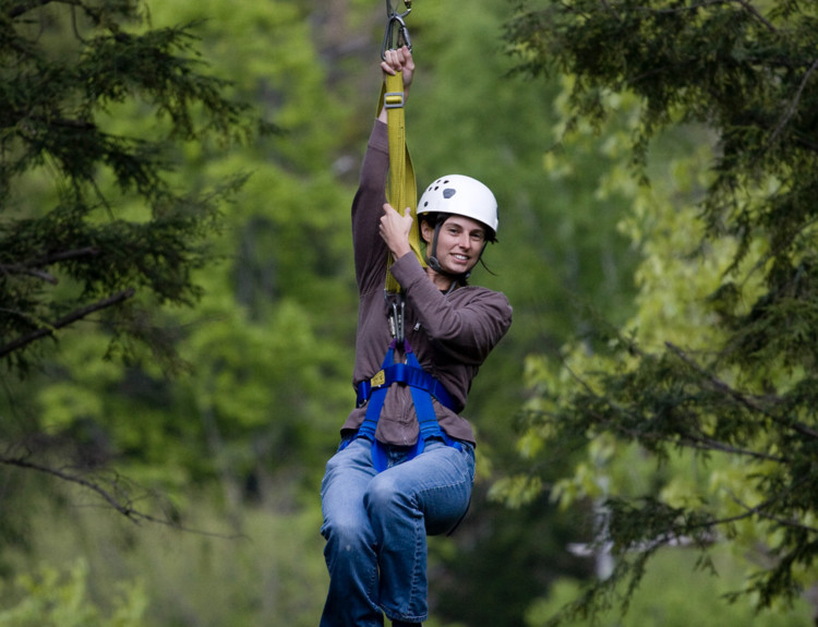 Zip-lining in the White Mountains of New Hampshire is a great outdoor adventure for spring break