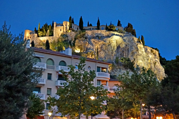 Chateau de Cassis hotels overlooking the village of Cassis, France.