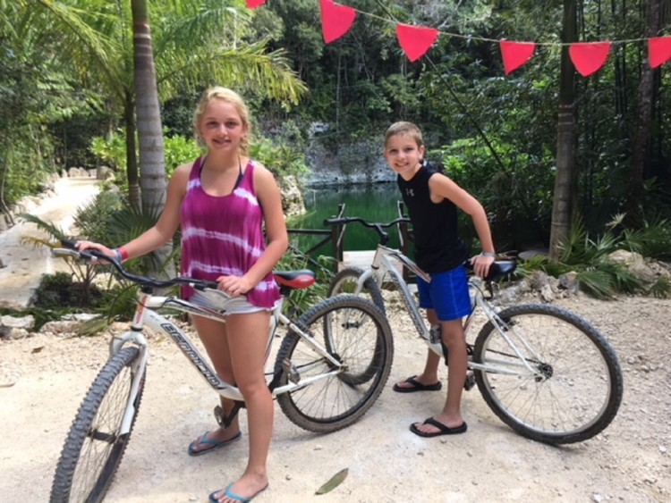 Bike riding is a budget friendly activity during a family vacation to Mexico.