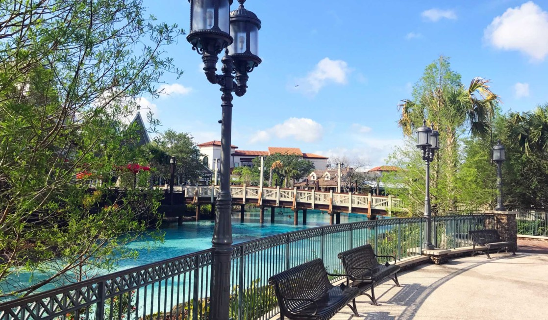 Outdoor fun in the picturesque Disney Springs area outside Disney World parks.