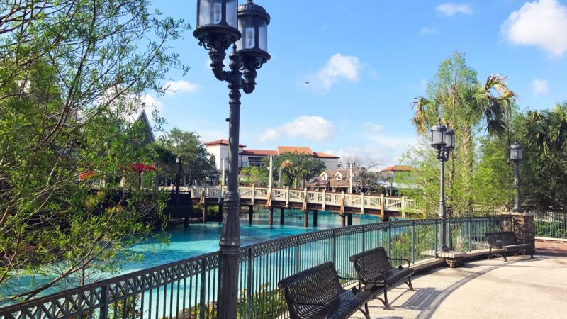 Outdoor fun in the picturesque Disney Springs area outside the Disney theme parks.