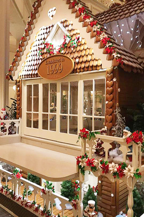 Resort hop for free and see great sights like this massive Gingerbread house!