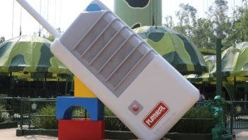 a larger than life baby monitor, as used by the green army men in Pixar's Toy Story - seen in Toy Story Land in Hong Kong Disneyland