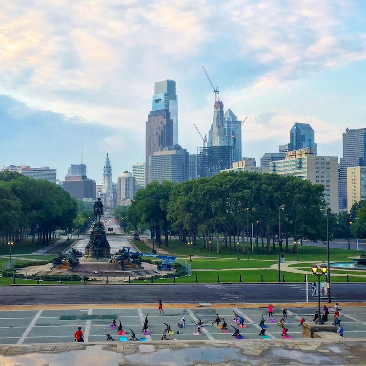Philadelphia in a weekend includes enjoying skyline views from the top of the Rocky steps.
