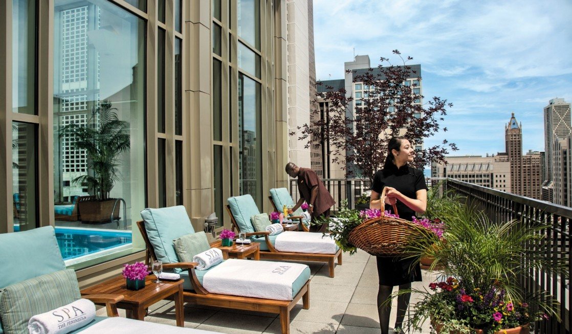 Chicago's Peninsula Hotel sundeck is open to anyone who gets two hours of treatments at this luxury spa.