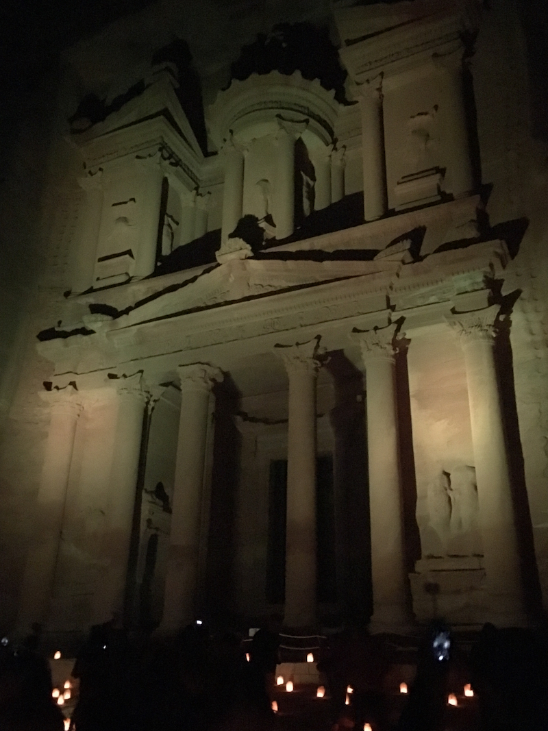 See There Treasury at night. Tips for visiting Petra in Jordan.