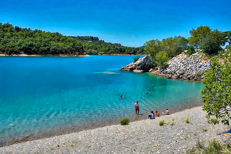 Beaches of Sainte Croix Lake in Provence deliver beauty and tranquility.