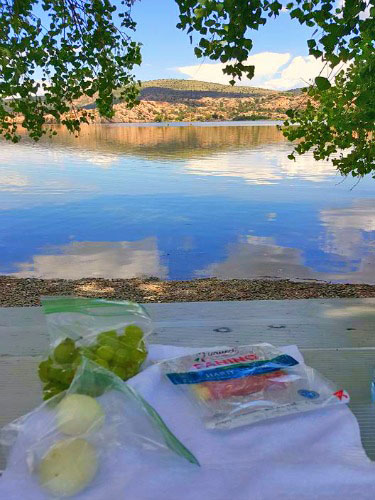 Picnicking with a view at Watson Lake Park neat Prescott, Arizona.