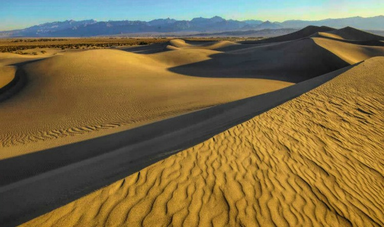 Mesquite Flat Sand Dunes in Death Valley National Park come alive at sunrise.