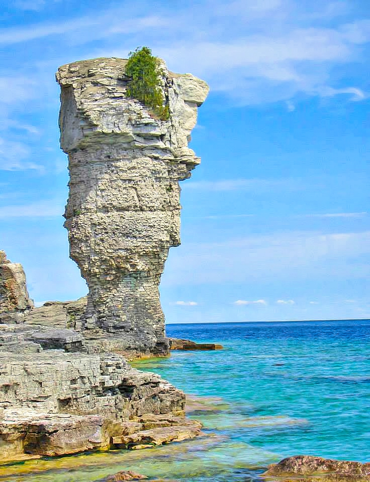 Unique rock formations galore at Flowerpot Island in Ontario, Canada.