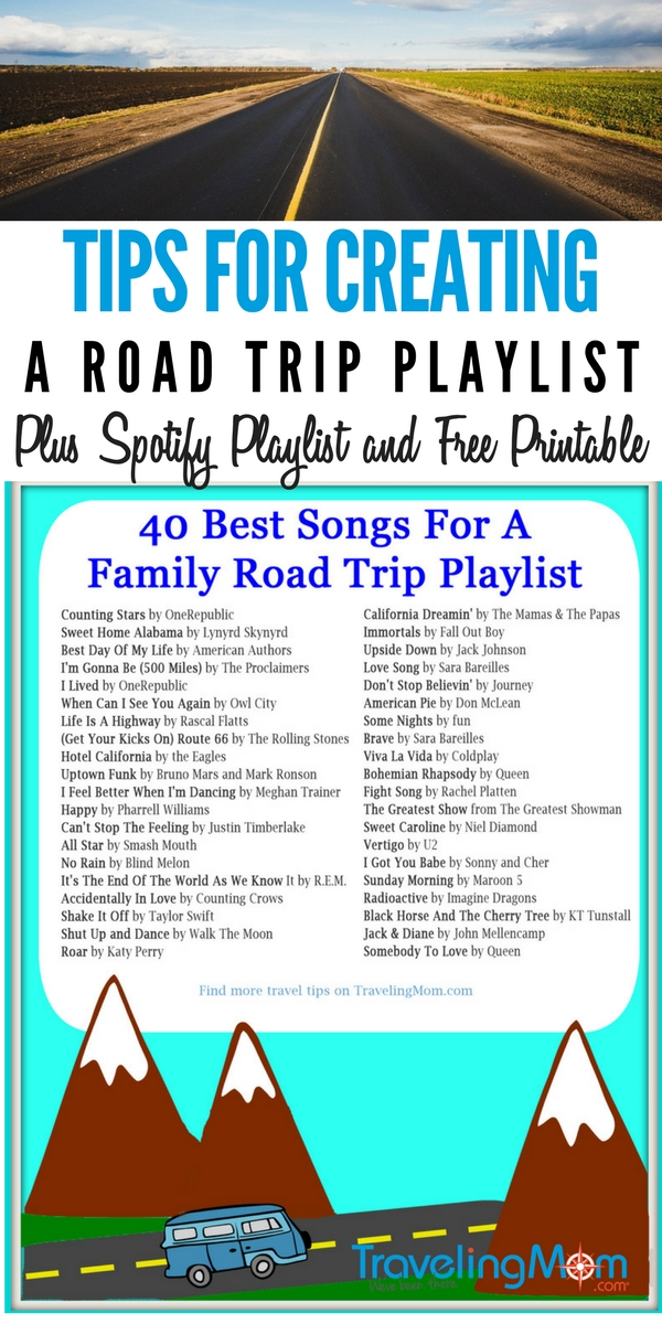 Learn how to create a great playlist for your family road trip. Plus a check out our spotify playlist and free printable