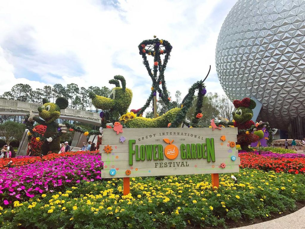 The Epcot Flower and Garden entrance is a spectacular display of color and beauty.
