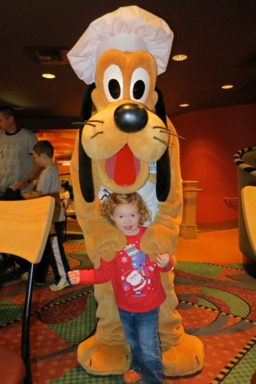 Meeting Chef Pluto at Goofy's Kitchen at the Disneyland Hotel Character Meal.