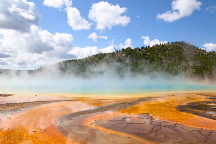 Grand Prismatic Spring. Old Faithful Geyser in Yellowstone.