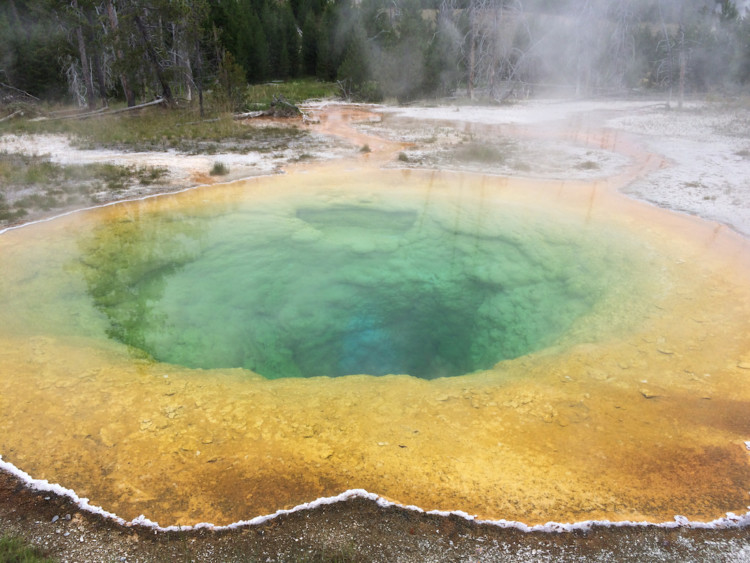 See Morning Glory Pool. Old Faithful Geyser in Yellowstone.