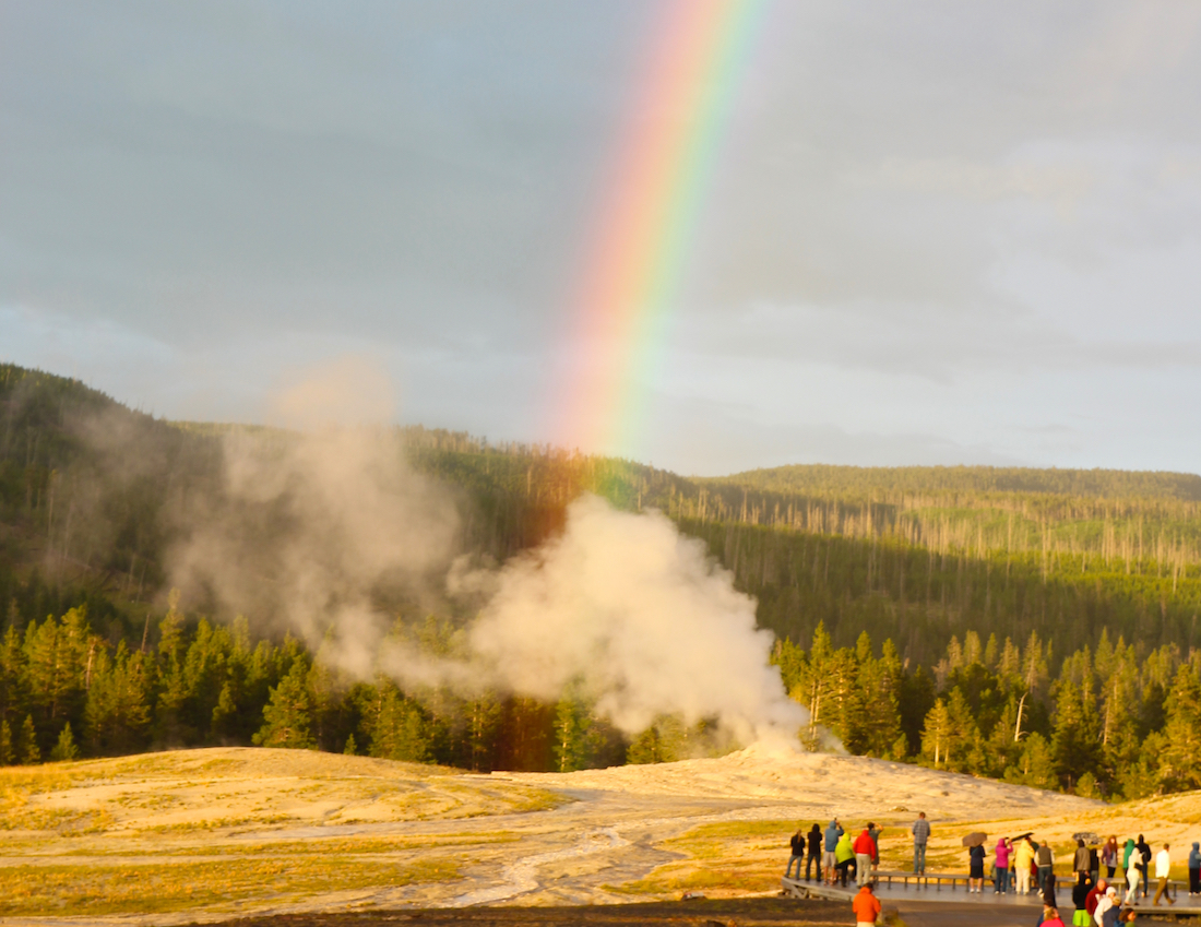 Old Faithful Geyser in Yellowstone.
