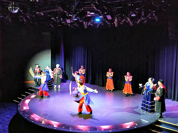 Cruising Europe in Style while on board Regent Seven Seas includes local folkloric shows, like this one when docked in St. Petersburg, Russia