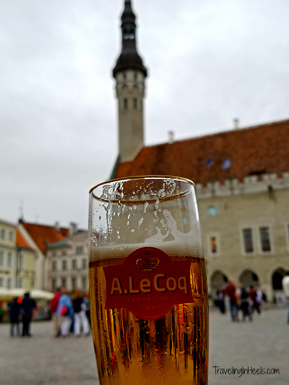 Sipping local Estonia brew at the Tallinn Town Hall Square - brew with a view