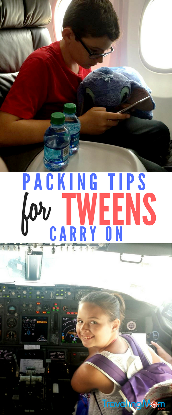 Complete packing list for tweens carry on.