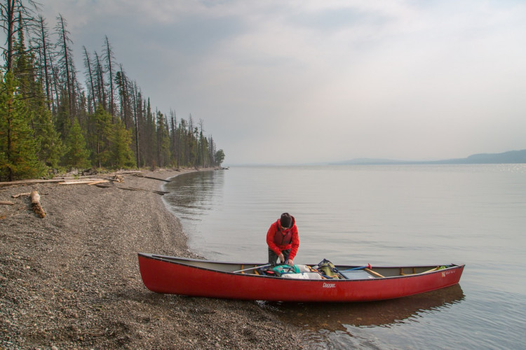 Canoeing on Yellowstone Lake. Where to find luxury in Yellowstone National Park.