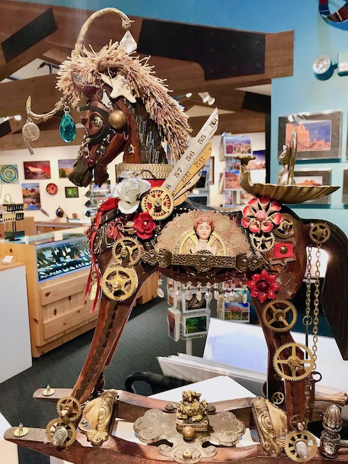 Mixed media rocking horse art - visiting the Sedona Arts Center is one of the free things to do in Sedona