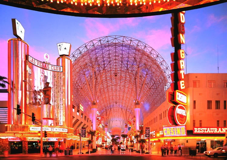 Fremont Street is a romantic spot because of the lights, sounds, people and hidden intimate spots!