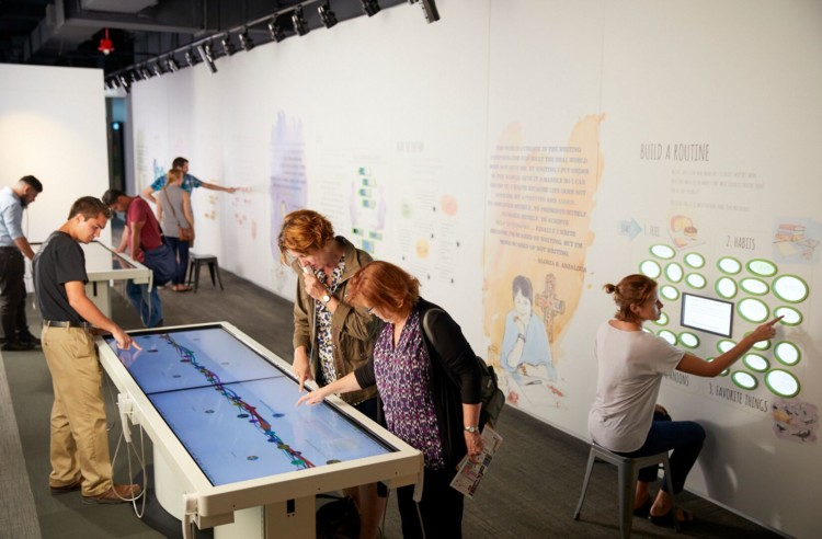 Kids love will love playing at the interactive game tables while visiting Chicago's American Writers Museum.