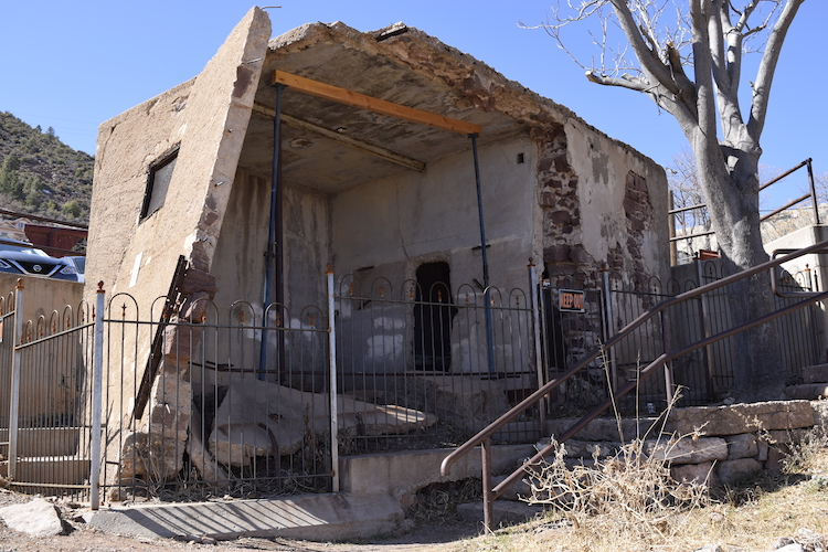 Sliding Jail in Jerome AZ - this ghost town jail is falling apart. The walls are leaning precariously.