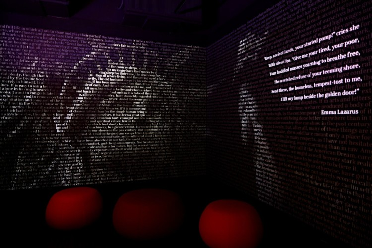 The American Writers Museum Word Wall exhibit uses cutting edge technology to describe the power of words.