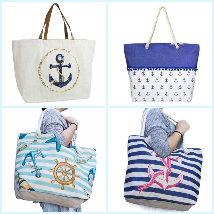 Beach bags adorned with anchors seem like just the thing for a beach vacation. Photo Credit: Amazon