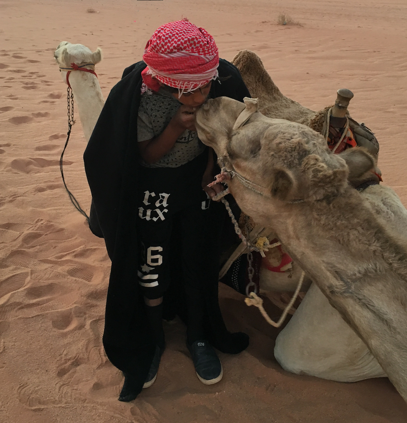 Camel Kisses. things to do with kids in Wadi Rum.