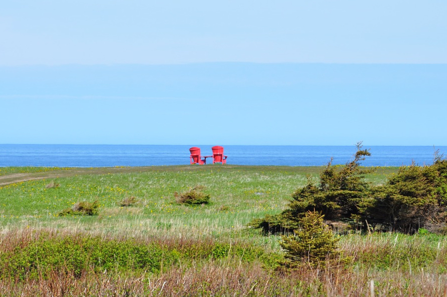 Find a red chair. Best things to do at the Bay of Fundy National Park