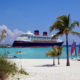 A Disney Cruise ship is docked at Castaway Cay, during a Disney Cruise family vacation