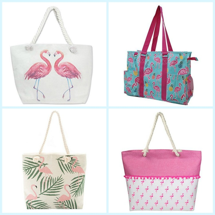 Flamingo lovers will love choosing from these colorful beach bags. Photo credit: Amazon