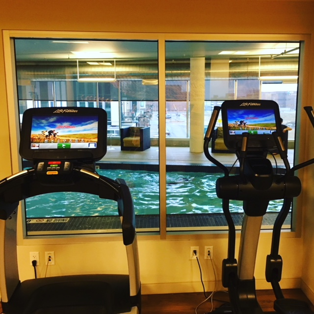 Gym windows overlook the indoor pool at the Hyatt Regency Bloomington-Minneapolis.