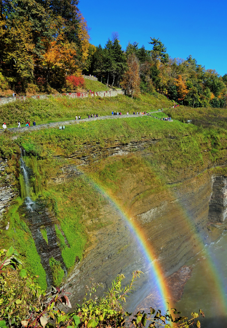 Spectacular foliage, waterfalls, and even a rainbow can be found at Letchworth State Park, NY.