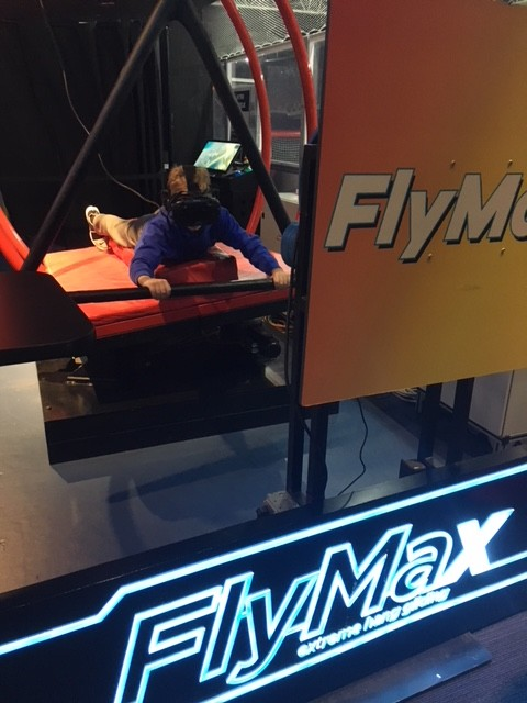 Hang gliding is one of the VR experiences at SMAAASH in Mall of America.