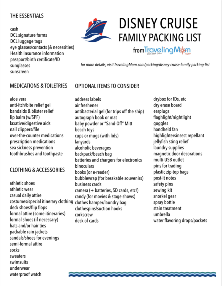 a printable Disney Cruise Line Family packing list from TravelingMom.com