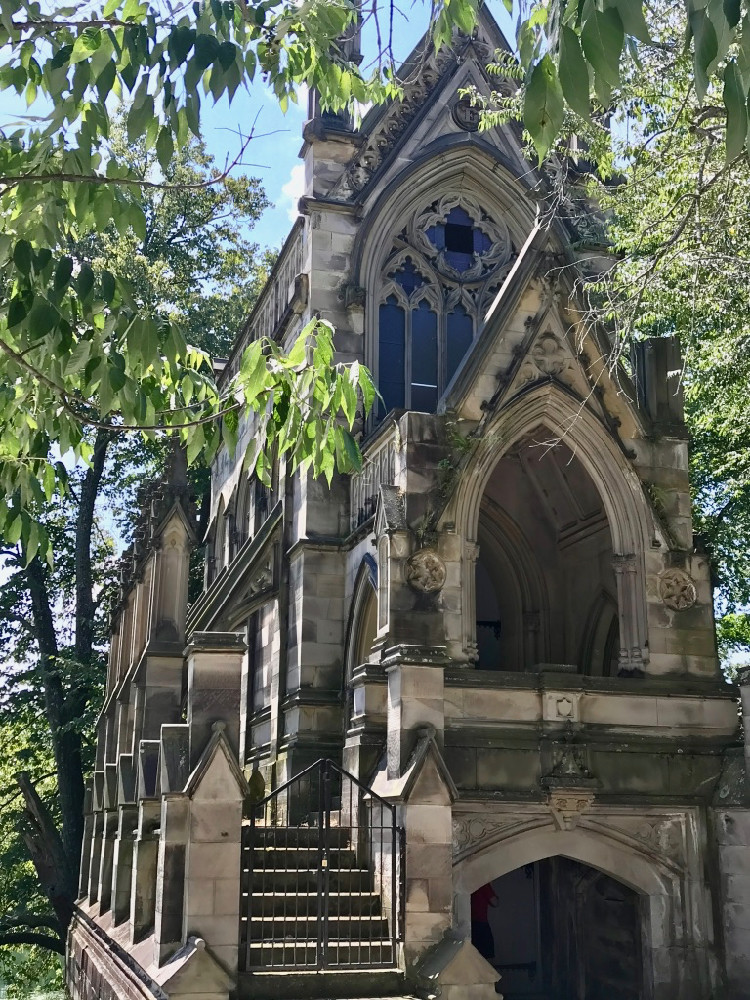 a mausoleum at Cincinnati's Spring Grove Cemetery looks like a castle - and is a great place to take kids for an outdoor Cincinnati Staycation