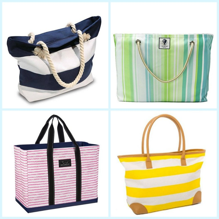 Beach bags come in stripes of every color. Photo Credit: Amazon