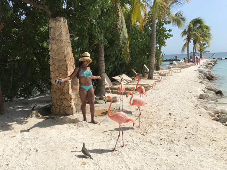 Aruba's Flamingo Beach is a fun spot for photos for a momcation.