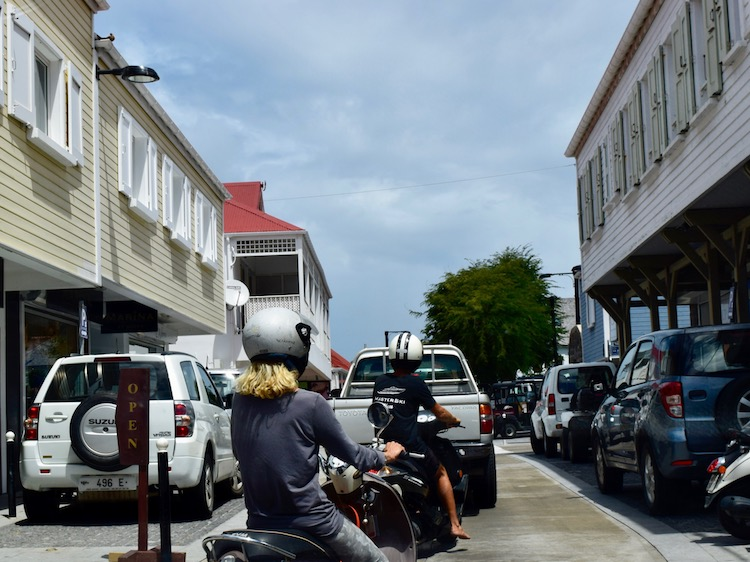 Gustavia streets with cars and scooters are difficult to navigate on St. Barths after Irma