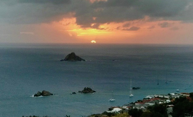 ocean sunset on St. Barths after Irma