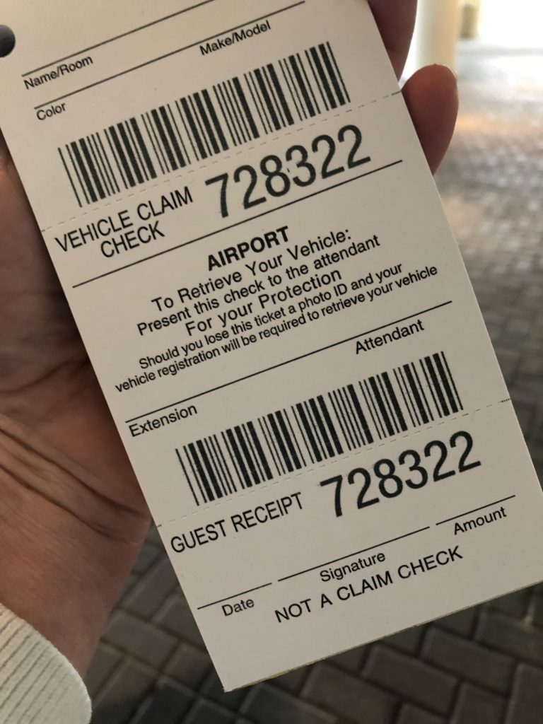 Snap a smartphone photo of your valet parking receipt in case the paper gets lost.