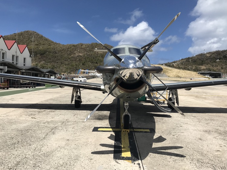 Tradewinds Aviation prop plane on runway provides transport to St. Barths after Irma